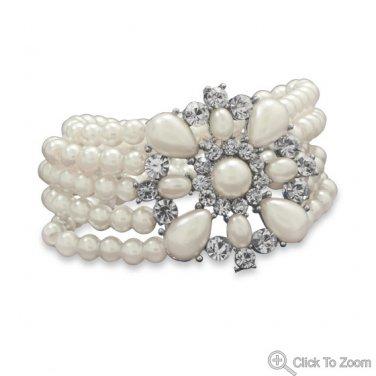 Elegant Imitation Pearl Fashion Bracelet with Crystal