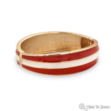 Red and White Enamel Fashion Bangle Bracelet