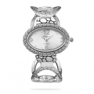 Oxidized Oval Link Hinged Fashion Cuff Watch