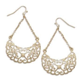 14 Karat Gold Plated Heart Design Earrings