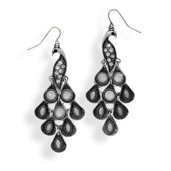 Oxidized Peacock Design Fashion Earrings