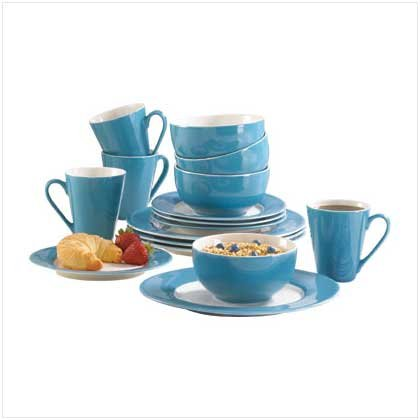 Blue-trimmed dinnerware set