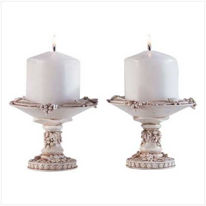 Ivory Finish Grapevine Candle Holders