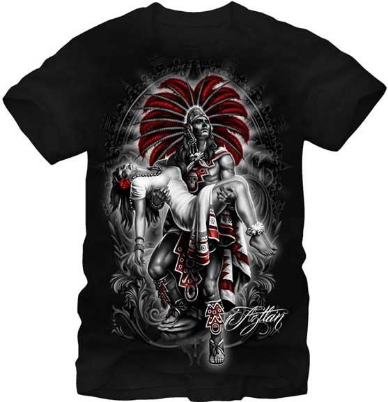 Fifth Sun Graphic Mens T-shirt Aztlan Moctezuma Size L