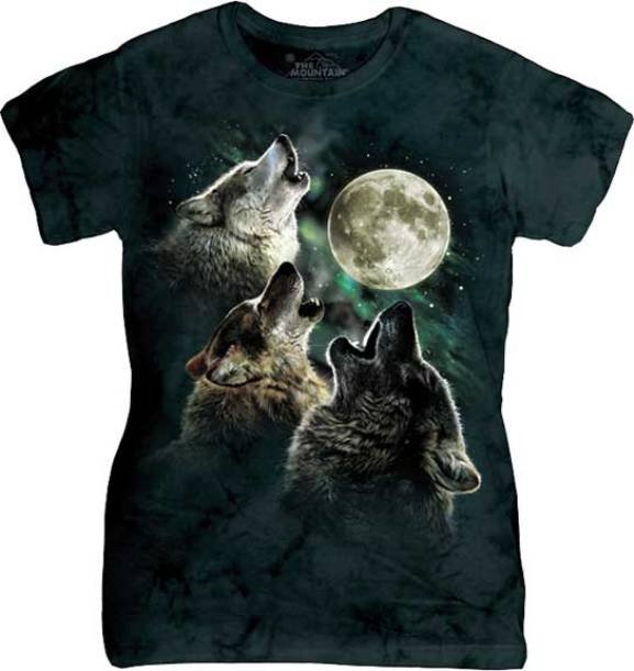The Mountain Three Wolf Moon Classic Ladie Graphic T-shirt Size M