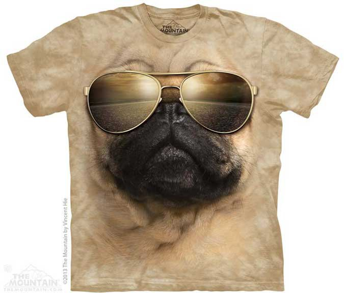 The Mountain Mens Graphic Printed Tee Aviator Pug T-shirt Adult Size M