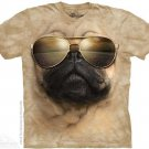 The Mountain Mens Graphic Printed Tee Aviator Pug T-shirt Adult Size L