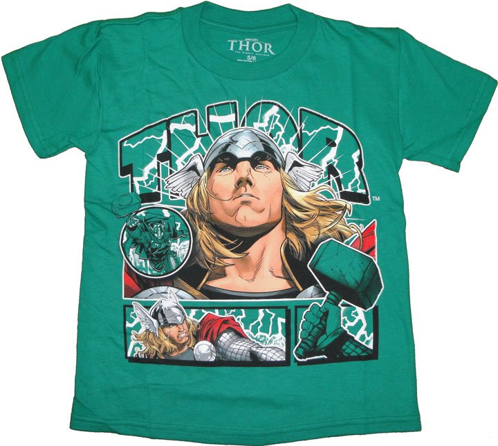 Thor Marvel Comics Boys Tee Kelly Green T-Shirt Size 5/6