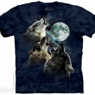 The Mountain Graphic Tee Three Wolf in Blue T-Shirt Size L