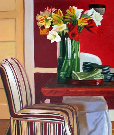 """Dining Room Table Ready for Setting 20"""" x 24"""" Original Oil"""