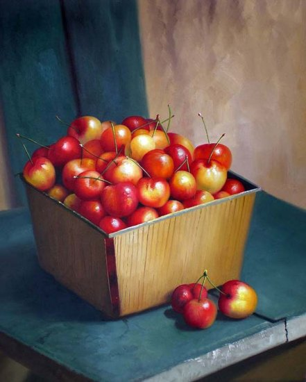 "Ranier Cherries in Wooden Carton 20"" x 24"" Original Oil"