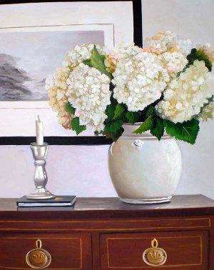 """White hydrangeas on dresser 20"""" x 24"""" Original Oil"""