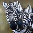 "Burchell Zebras Loving Moment 20"" x 24"" Original Oil"