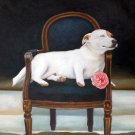 "Blissful Terrier on Chair 20"" x 24"" Original Oil"