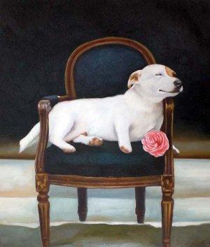 "Blissful Terrier on Chair 20"" x 24"" Original Oil"