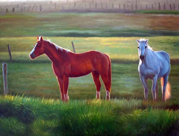 "Horses In Green Pasture 20"" x 24"" Original Oil"