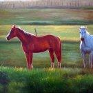 """Horses In Green Pasture 20"""" x 24"""" Original Oil"""