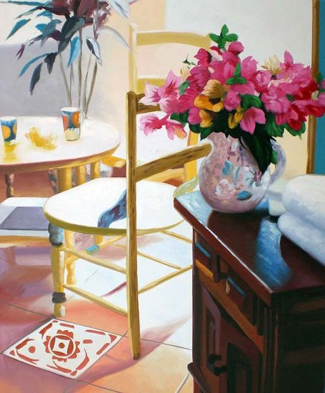 "Table and Pink flowers 20"" x 24"" Original Oil"