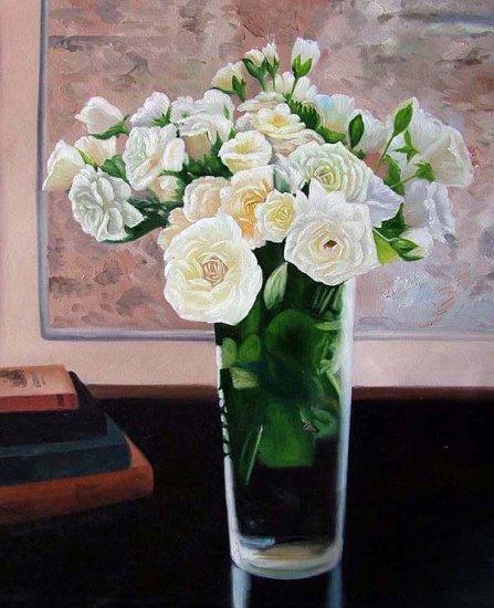 "White Roses in Vase 20"" x 24"" Original Oil"