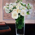 "White Roses in Vase 20"" x 24"" Original Oil"
