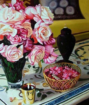 "Arrangement of pink Roses 20"" x 24"" Original Oil"