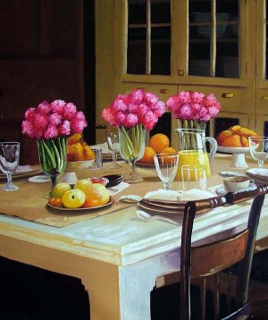 """Breakfast with Croissants and Fruit  20"""" x 24"""" Original Oil"""