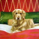 "Golden Retriever on Bed 20"" x 24"" Original Oil"