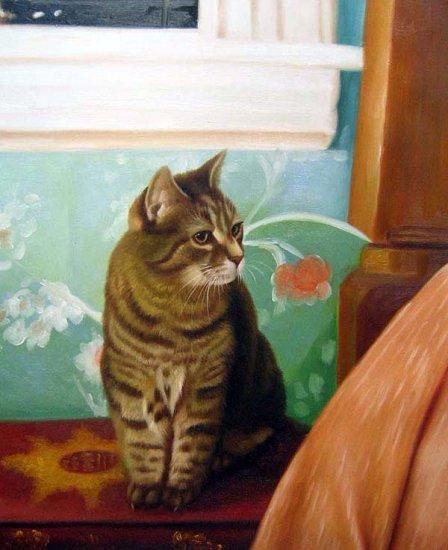 "Tabby cat on Book 20"" x 24"" Original Oil"