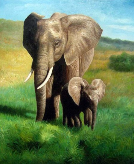 "Mother and Baby Elephant 20"" x 24"" Original Oil"