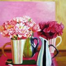 "Arrangements in Colorful Vases 20"" x 24"" Original Oil"