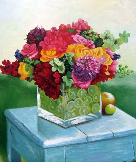 "Mixed bouquet of flowers in glass vase 20"" x 24"" Original Oil"