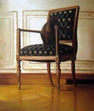 "Black cat sitting on chair 20"" x 24"" Original Oil"