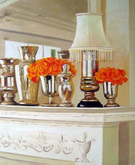 """Orange Roses in Mercury Glass Vases 20"""" x 24"""" Original Oil"""