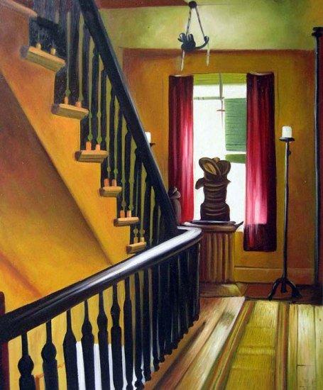 "Hallway and stairwell 20"" x 24"" Original Oil"