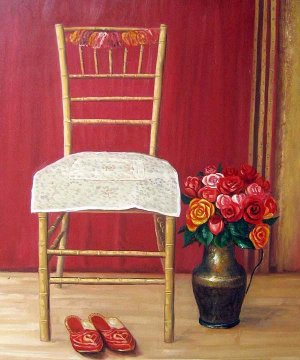 """Chair, Slippers, and Roses 20"""" x 24"""" Original Oil"""
