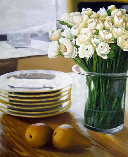 "Pears and Ranunculus 20"" x 24"" Original Oil"