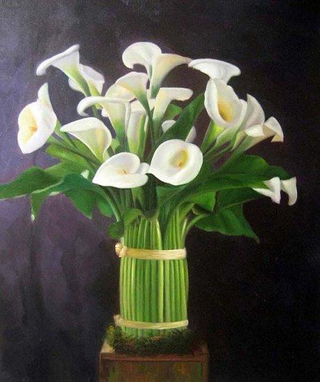 """Calla Lily Bouquet 20"""" x 24"""" Original Oil"""