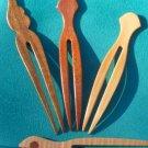 Handmade Wooden Hair Forks