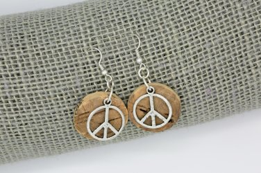 SUMMER SALE Upcycled Cork Peace Sign Earrings
