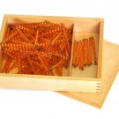 Montessori Golden Bead Chains of 100 and 1000 with Box