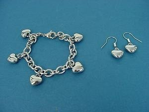 set of dangling heart charm bracelet and earrings in shiny stainless steel 622