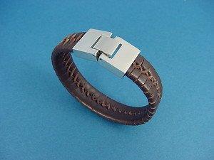 ladies' genuine leather bracelet in dark brown with stainless steel lock 740