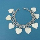women's shiny stainless steel bracelet with 8 MOP dangling charms 015