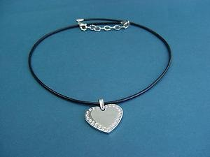 s.steel heart pendant with Swarovski crystal with black leather necklace 529b