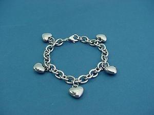 dangling heart charm bracelet in stainless steel 046