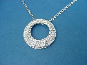 pendant in silver color with over 100 CZ stones and chain in stainless steel 674