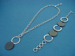 Sets of stainless steel necklace and bracelet with circle charms 704