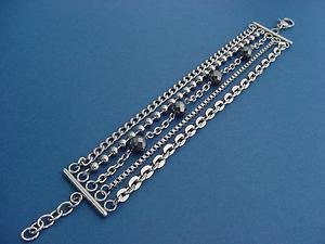 stainless steel bracelet with with 5 different strands and hematite 312