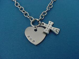stainless steel heart & cross charm necklace with Swarovski crystals 502