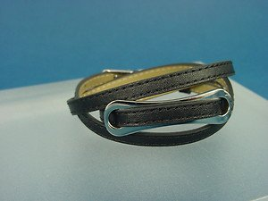 double / triple black leather band bracelet with s.steel fantasy plate 712
